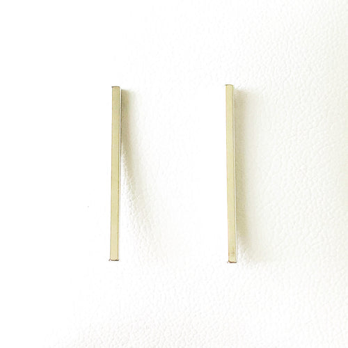 Shop the Thin Bar Post Earrings White Gold Dipped at Federal & Black