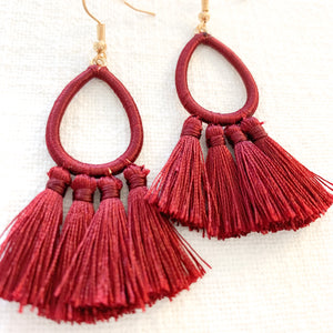 Shop our thread wrapped Teardrop Tassel Earrings in Burgundy at Federal & Black