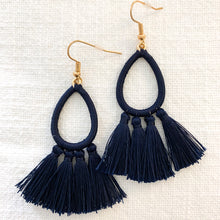 Load image into Gallery viewer, Thread Wrapped Teardrop & Tassel Earrings in Navy at Federal & Black