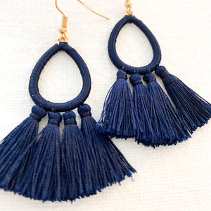 Thread Wrapped Teardrop & Tassel Earrings in Navy at Federal & Black