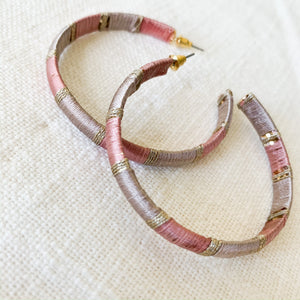 Shop our thread wrapped hoops in dusty pink at Federal & Black