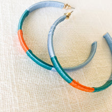 Load image into Gallery viewer, Shop our thread wrapped hoops in light blue, orange & teal at Federal & Black