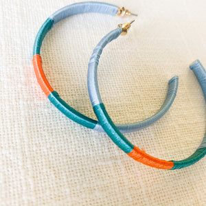 Shop our thread wrapped hoops in light blue, orange & teal at Federal & Black