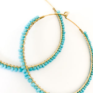 Shop the Turquoise & Gold Seed Bead Hoop Earrings at Federal & Black