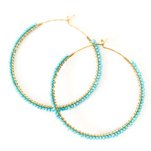 Load image into Gallery viewer, Shop the Turquoise & Gold Seed Bead Hoop Earrings at Federal & Black