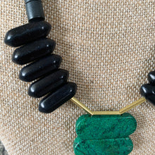 Load image into Gallery viewer, Shop the Turquoise, Black Agate & Brass Statement Necklace by David Aubrey at Federal & Black