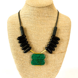 Shop the Turquoise, Black Agate & Brass Statement Necklace by David Aubrey at Federal & Black