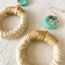 Load image into Gallery viewer, Shop the rattan & disc stone turquoise earrings at Federal & Black