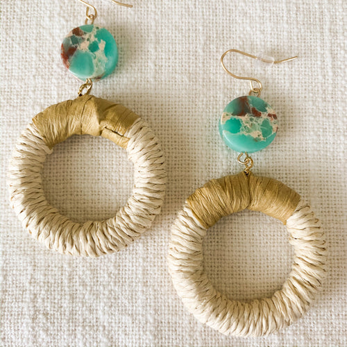 Shop the rattan & disc stone turquoise earrings at Federal & Black