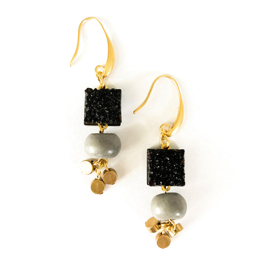 Shop the Vintage Black Carved Jet Glass, Magnesite & Brass Earrings by David Aubrey at Federal & Black