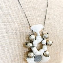 Load image into Gallery viewer, Shop the Boho Coin Necklace in White & Silver, handmade by women in New Delhi, at Federal & Black