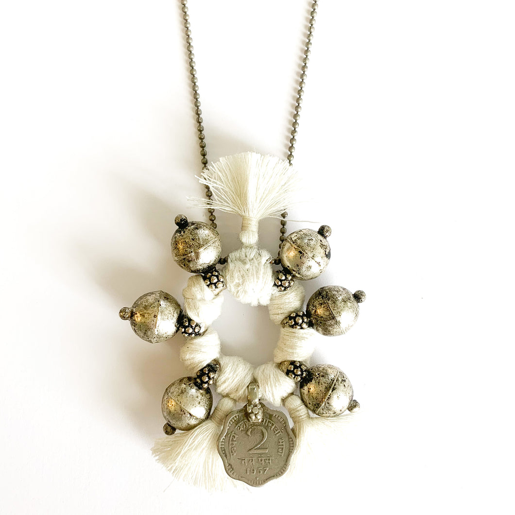 Shop the Boho Coin Necklace in White & Silver, handmade by women in New Delhi, at Federal & Black