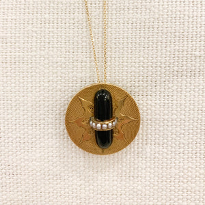 Antique Victorian Pendant | 14K Gold w/ Onyx & Seed Pearls