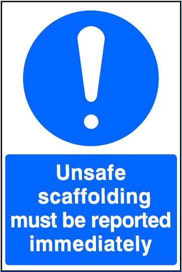 Keep clear scaffolding being dismantled Safety sign
