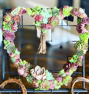 "Living Wreath Succulent Heart  (12"" or 6"" Wreaths available)"