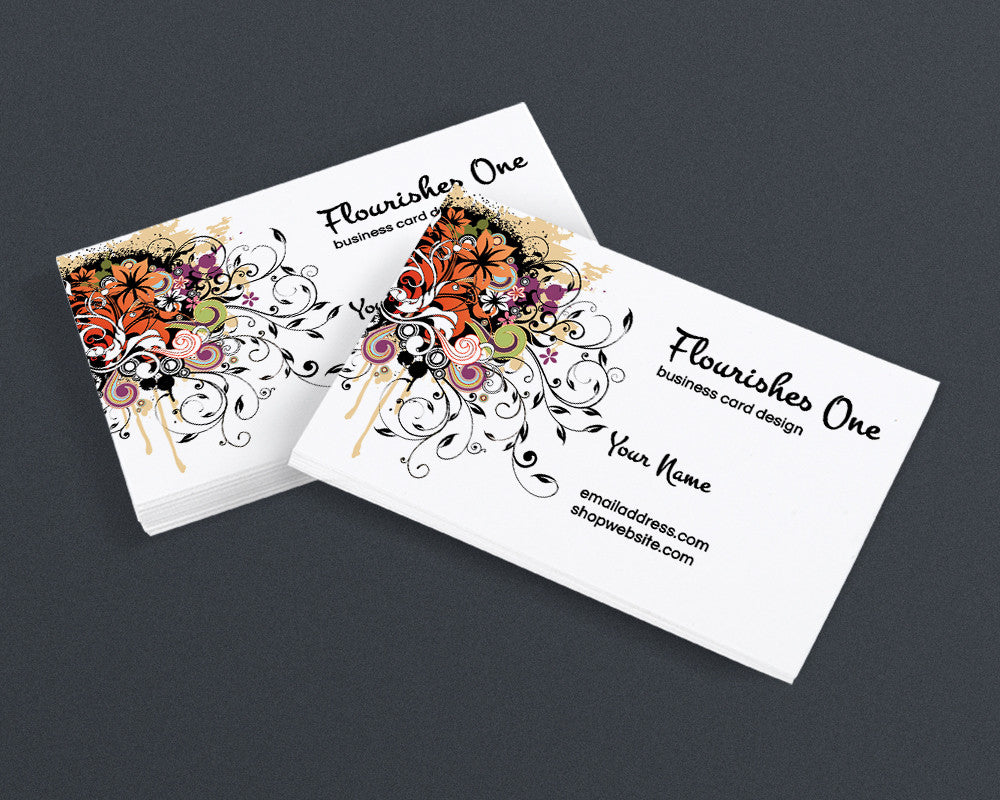Printable Business Card Design - Flourishes 1 - PS