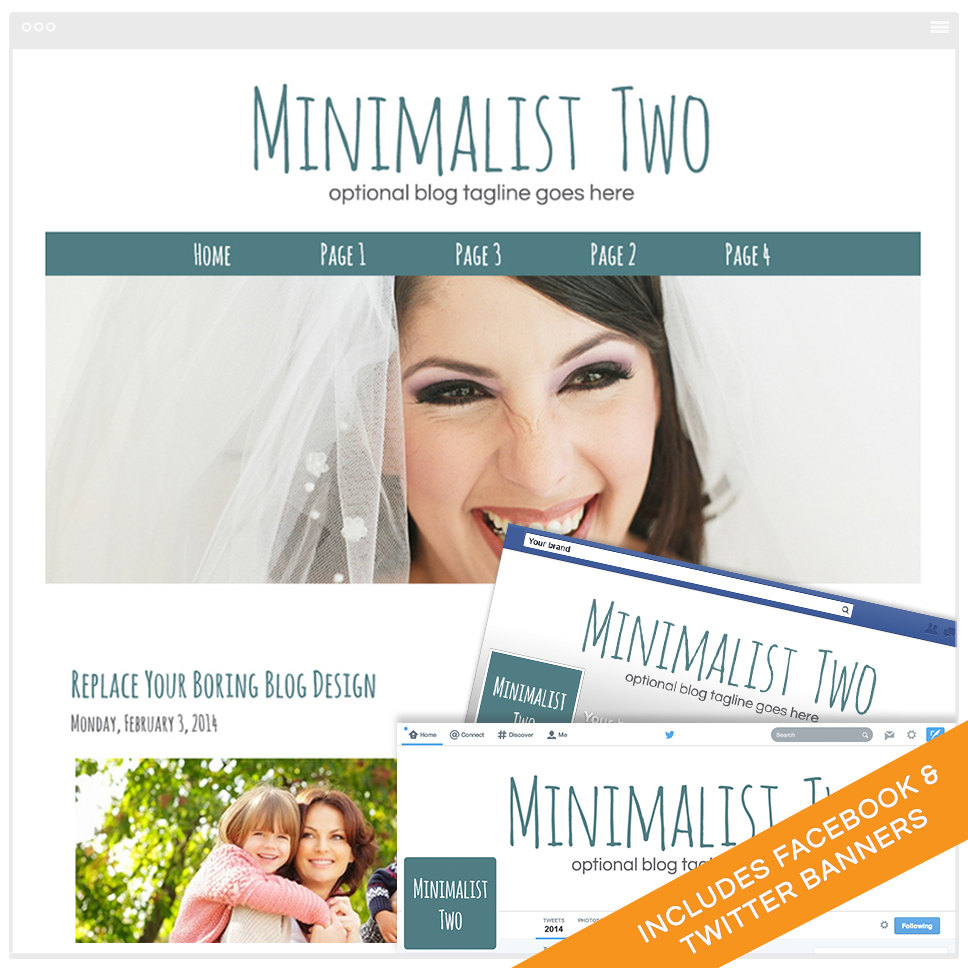 Blogger Design Bundle With Social Media Identities - Minimalist 2A