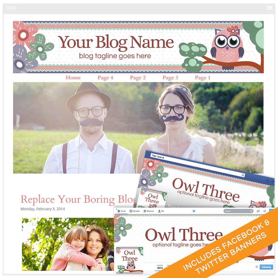 Blogger Design Bundle With Social Media Identities - Owl Three