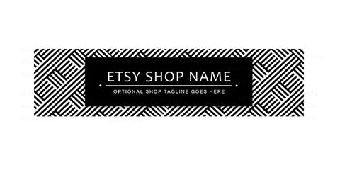 Black and White Etsy Shop Cover - Etsy Shop Cover - Modern Etsy Banner -  Geometric 15-16