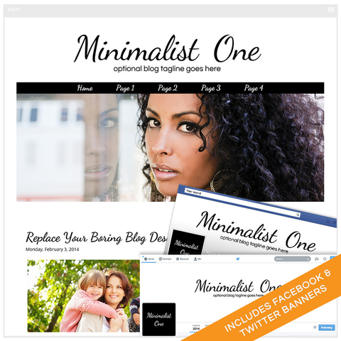 Blogger Design Bundle With Social Media Identities - Minimalist One