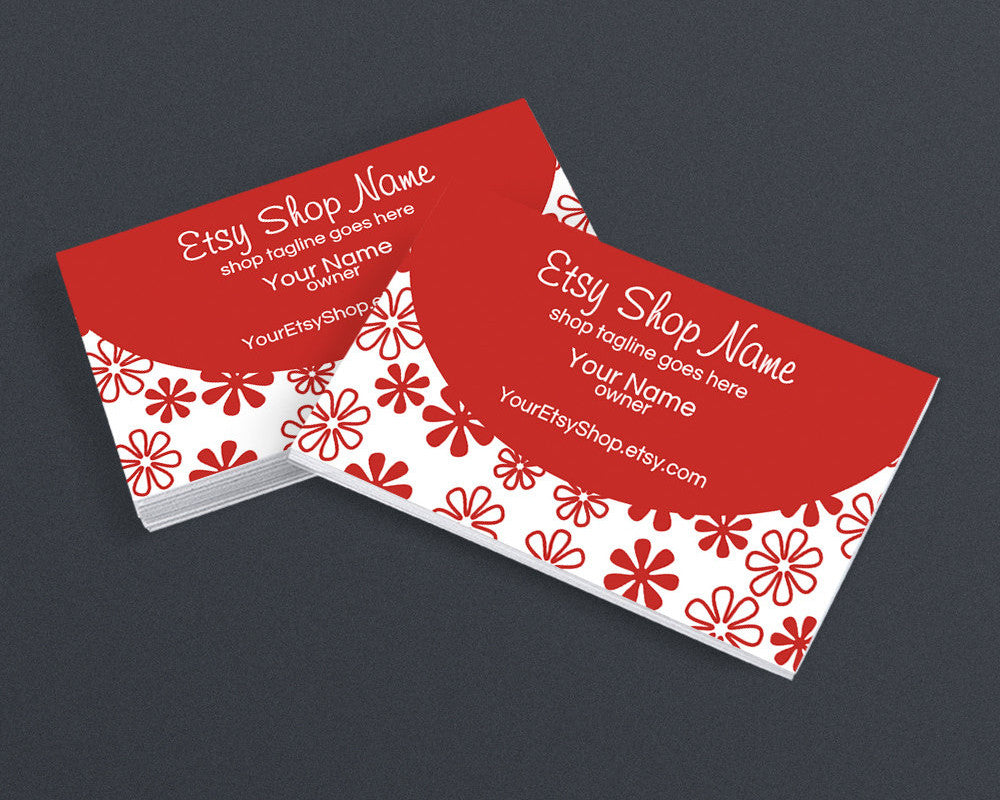 Red Floral Printable Business Card Design
