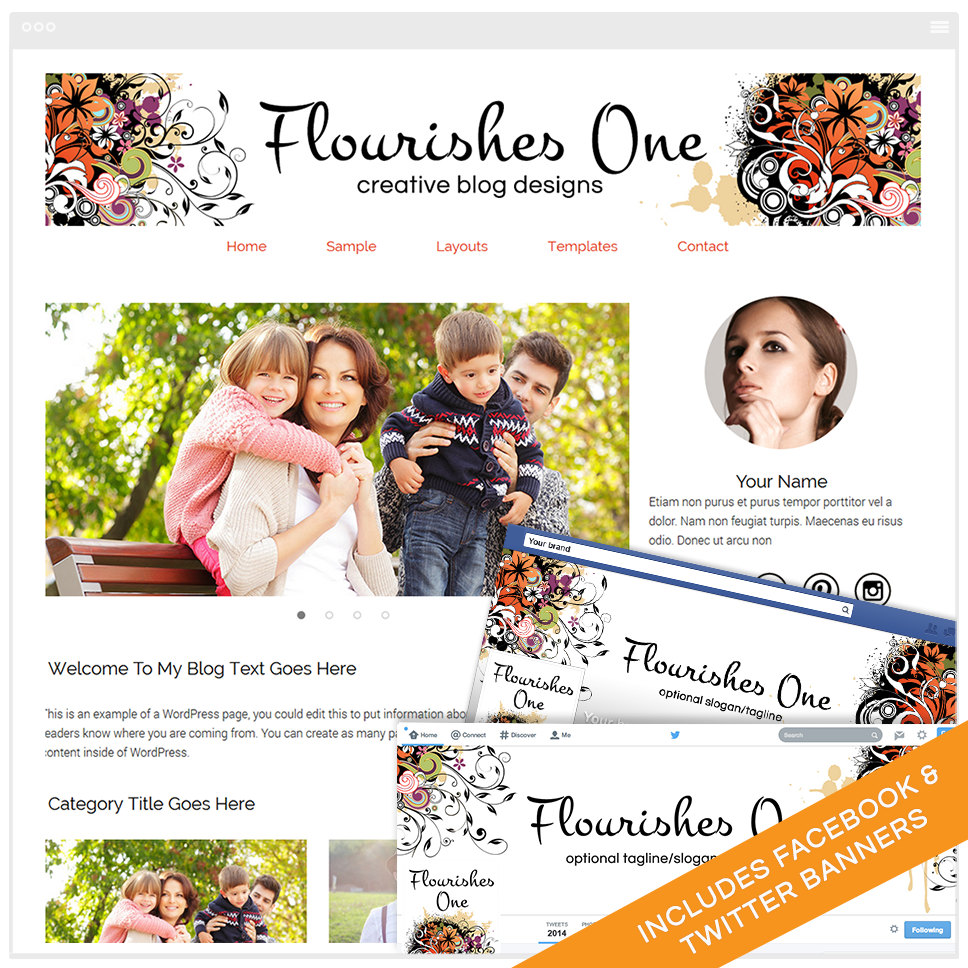 WordPress Template Bundle With Genesis Framework and Social Media Identities - Flourishes 1