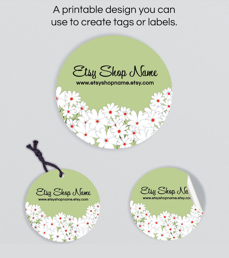 Round Product Labels and Hang Tags - Printable Round Label or Hang Tag Design - Floral 23