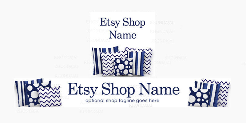 Navy Blue Etsy Shop Banner - Etsy Banner and Shop Icon Set - Pillow 2-16