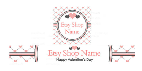 Etsy Valentine Banner Set - Etsy Banner With Shop Icon - Valentine's Day Etsy Banner - PS2
