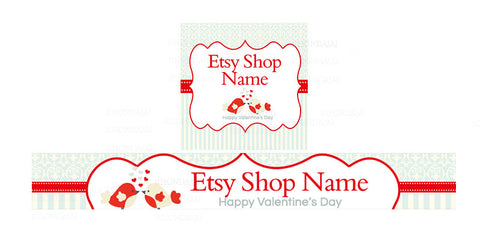 Etsy Valentine Banner Set - Etsy Banner With Shop Icon - Valentine's Day Etsy Banner - PS1