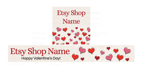 Etsy Valentine Banner Set - Etsy Banner With Shop Icon - Valentine's Day Etsy Banner - PS3