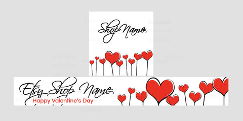 Etsy Valentine Banner Set - Etsy Banner With Shop Icon - Valentine's Day Etsy Banner - PS4