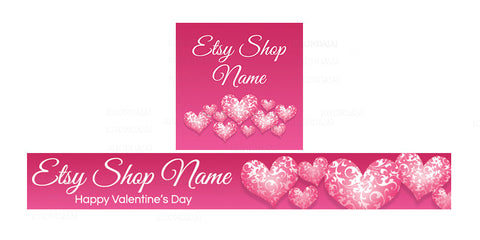 Etsy Valentine Banner Set - Etsy Banner With Shop Icon - Valentine's Day Etsy Banner - PS5