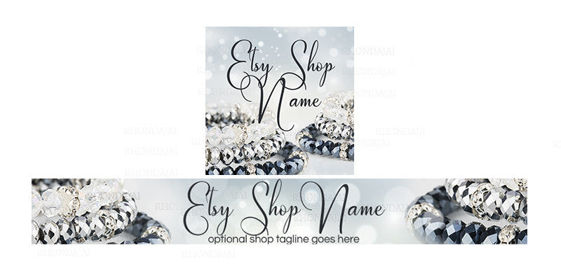 Jewelry Etsy Shop Banner - Etsy Banner and Shop Icon Set - 8