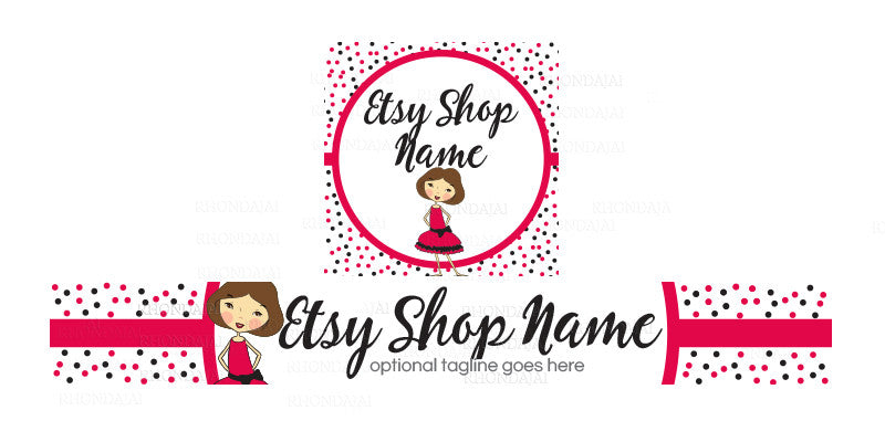 Boutique Etsy Shop Banner - Etsy Banner and Shop Icon Set - Sara