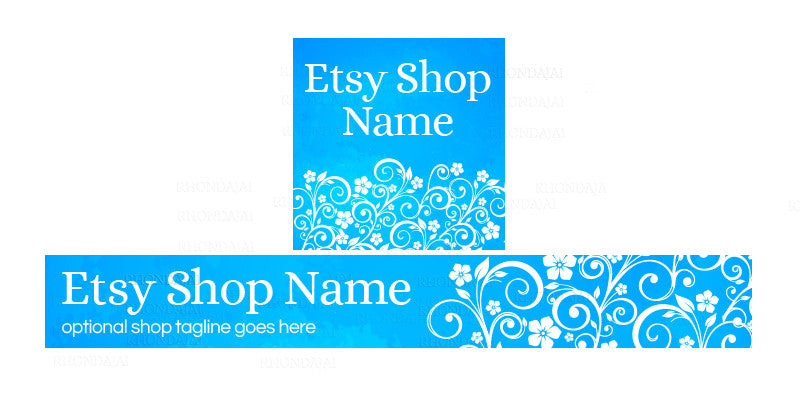 Blue Etsy Shop Banner - Etsy Banner and Shop Icon Set - Blue 1-16