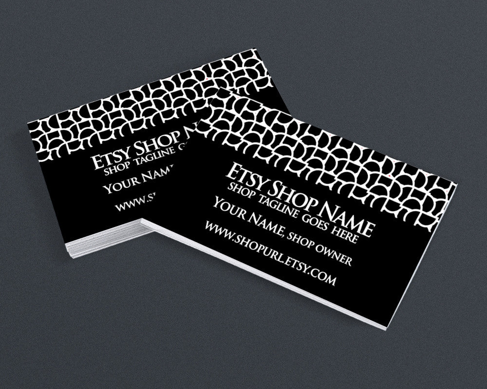 Business Card Design - Abstract 95 Black and White - Printable Business Card