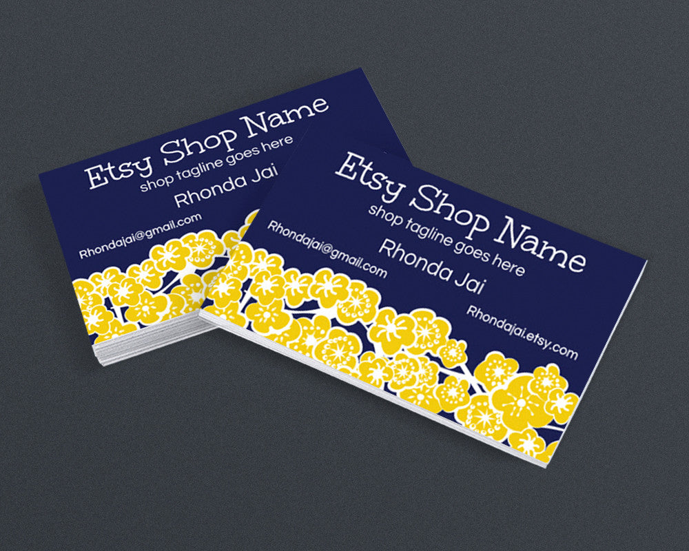 Chiyogami Inspired Blue and Yellow - Printable Business Card Design
