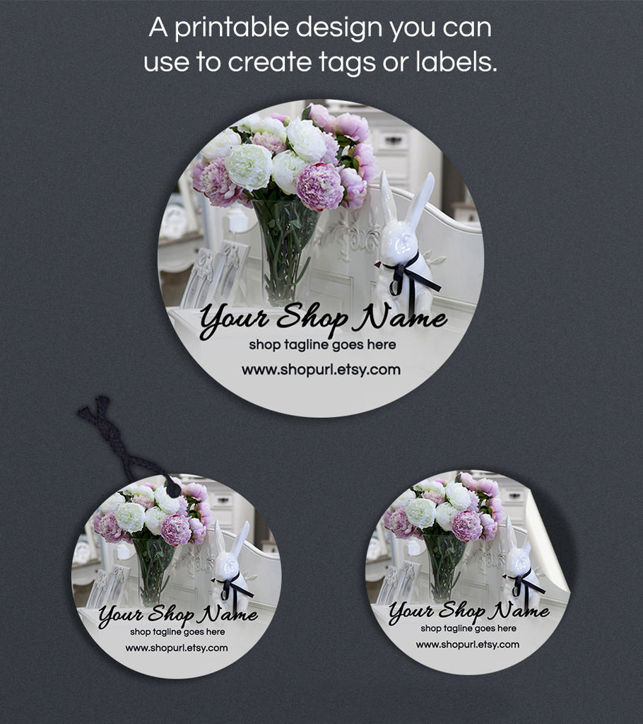 Round Product Labels or Hang Tags - Printable Round Label Design - Shabby Cottage Chic 1