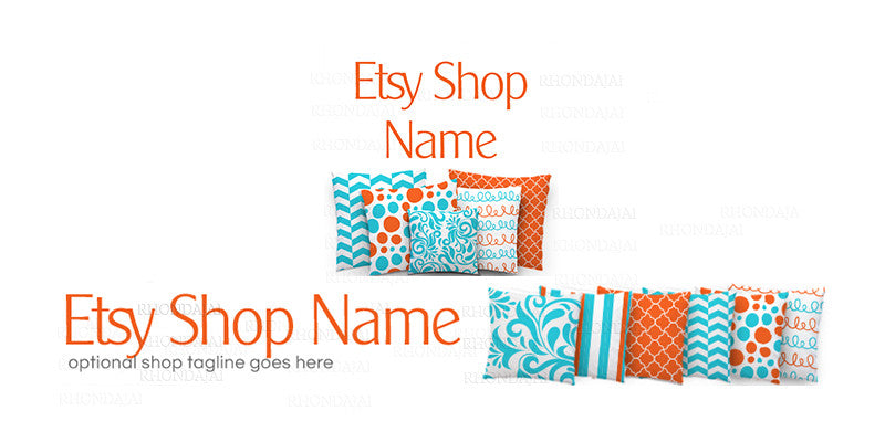 Colorful Etsy Shop Banner - Etsy Banner and Shop Icon Set - Pillow 3-16