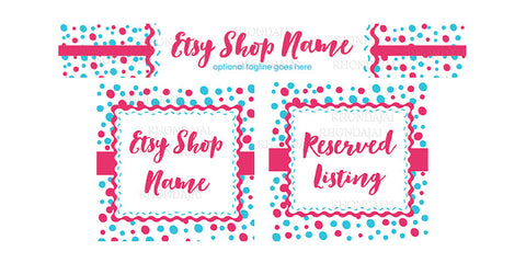 Etsy Shop Banner Set - 3 Piece Etsy Banner Set - Confetti Fun - Turquoise and Pink