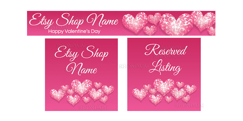 Valentine's Day Etsy Banner Set - 3 Piece Etsy Banner Set - PS5