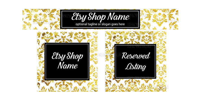 Etsy Banner Set - The Harper Collection - 3 Piece Etsy Banner Set
