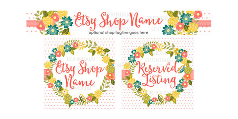 Floral Wreath Etsy Banner Set - 3 Piece Etsy Banner Set - Hayley