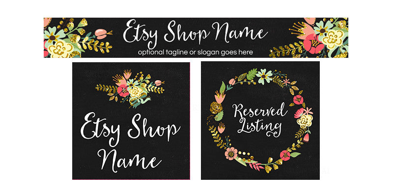 Etsy Banner Set - 3 Piece Etsy Banner Set - Julie