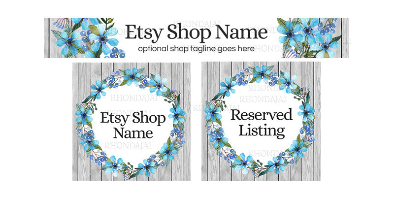 Floral Wreath Etsy Banner Set - Rustic Etsy Shop Banner Designs - 3 Piece Etsy Banner Set - Mary-Kate