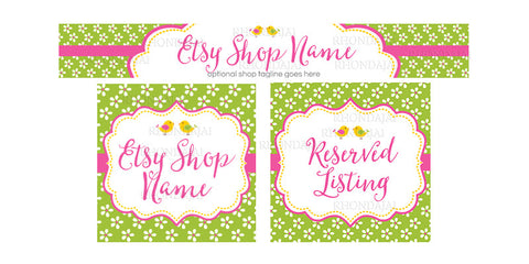 Etsy Banner Set - 3 Piece Etsy Banner Set - Birdies and Blossoms