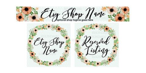 Floral Wreath Etsy Banner Set - 3 Piece Etsy Banner Set - Daphne
