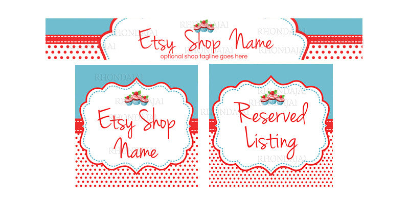 Etsy Banner Set - 3 Piece Etsy Banner Set - Cupcake Party