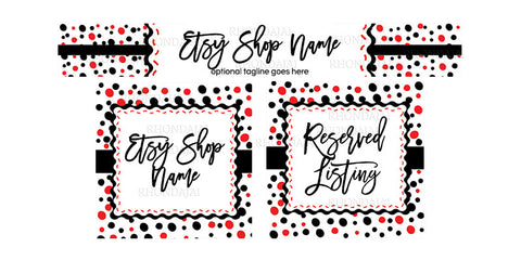 Etsy Shop Banner Set - 3 Piece Etsy Banner Set - Confetti Fun - Black, White and Red